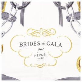 Hermès-Hermes White Brides de Gala Silk Scarf-White,Multiple colors