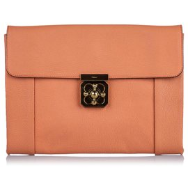 Chloé-Chloe Orange Leather Elsie Clutch-Orange