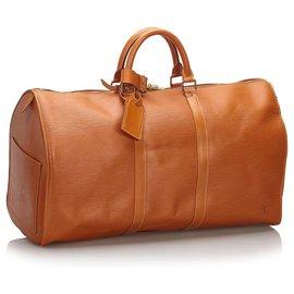 Louis Vuitton-Louis Vuitton Brown Epi Keepall 50-Marron,Marron clair