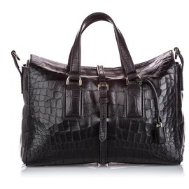 Mulberry-Mulberry Black Embossed Leather Roxette-Black