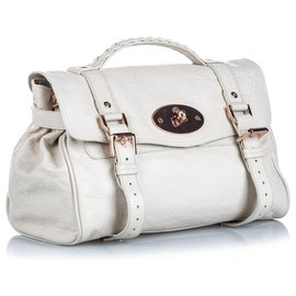 Mulberry-Mulberry White Leather Alexa Satchel-White