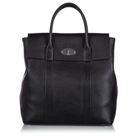 Mulberry-Mulberry Black Tall Leather Bayswater Handbag-Black