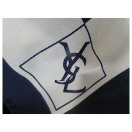 Yves Saint Laurent-YSL logos-White,Navy blue