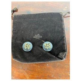 Hermès-Boucles d'oreilles vintage Hermès-Noir