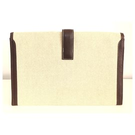 Hermès-Hermès Jige Clutch in Beige Canvas and Brown Leather-Beige