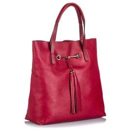 Gucci-Gucci Petit cabas en cuir Parkbit Horsebit rouge-Rouge