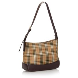 Burberry-Burberry Brown Haymarket Check Canvas Shoulder Bag-Brown,Multiple colors,Light brown