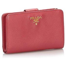 Prada-Prada Pink Saffiano Small Wallet-Pink