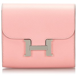 Hermès-Portefeuille Hermes Rose Epsom Constance Compact-Argenté,Rose