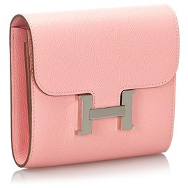 Hermès-Hermes Pink Epsom Constance Compact Wallet-Silvery,Pink