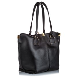 Chloé-Chloe Black Leather Vick Tote Medium-Black