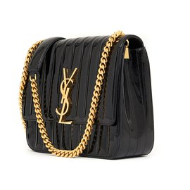Saint Laurent-VICKY LARGE BLACK PATENT-Noir