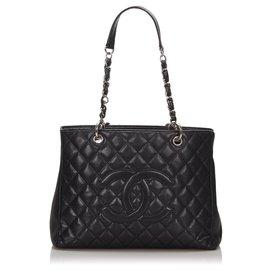 Chanel-Chanel Black Caviar Grand Shopping Tote-Black