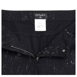 Chanel-BLACK PAINT WOOL FR38/40-Black
