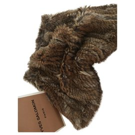 Yves Salomon-Fur collar yves salomon-Light brown