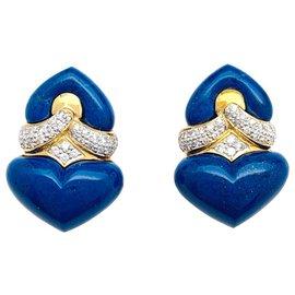 inconnue-Boucles d'oreilles en or jaune, lapis-lazuli et diamants.-Autre