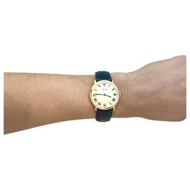"""Cartier-Cartier """"Vendôme"""" watch in yellow gold on leather.-Other"""
