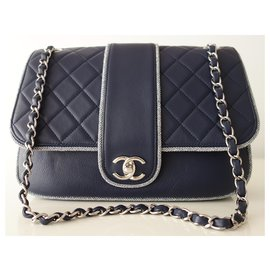 Chanel-BLUE CLASSIC CHANEL BAG-Navy blue