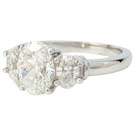 inconnue-Bague en platine, diamants taille ovale.-Autre