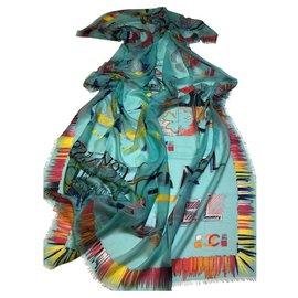 Chanel-CHANEL cashmere stole-Multiple colors