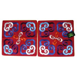 "Shanghai Tang-2 housses de coussins rouge 46 x 46 cm Shanghai Tang ""Yun""-Rouge"