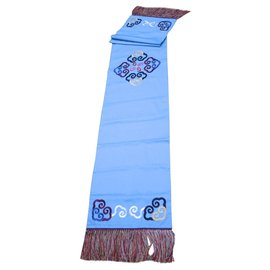 Shanghai Tang-Chemin de table ou de lit  shanghai Tang coton et soie 284 x 51,5 cm-Bleu clair