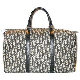 Christian Dior-DIOR sac vintage en toile Oblique Noir-Noir,Écru