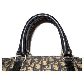 Christian Dior-DIOR vintage bag in Black Oblique canvas-Black,Cream