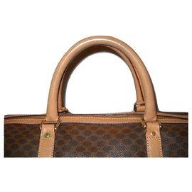 Céline-CELINE vintage Macadam weekend bag-Brown,Beige