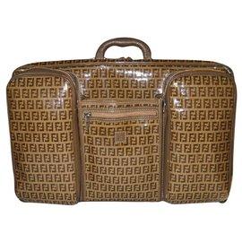 Fendi-FENDI travel bag Zucchino and leather-Beige