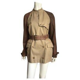 Alexander Mcqueen-Coats, Outerwear-Beige,Dark brown