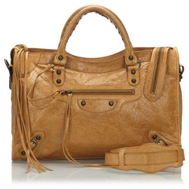 Balenciaga-Balenciaga Brown Motocross Classic City Bag-Brown