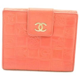 Chanel-Chanel Choco Bar Non.5 Portefeuille pliant Red CC-Rouge