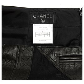 Chanel-BLACK WOOL LEATHER FR38-Black