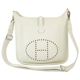 Hermès-Hermes Evelyne III 29 White Leather Palladium hardware excellent condition-White