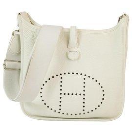 Hermès-Hermes Evelyne III 29 White Leather Palladium hardware excellent condition-Blanc