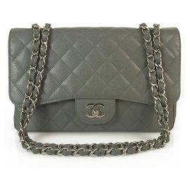 Chanel-CHANEL Couro Caviar cinza TimelessJumbo Classic Single Flap Bag Hardware de prata-Cinza