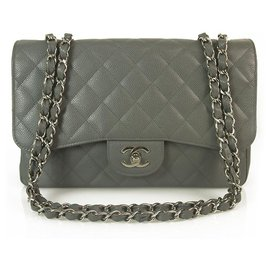 Chanel-CHANEL Graues Kaviarleder TimelessJumbo Classic Single Flap Bag Silber Hardware-Grau