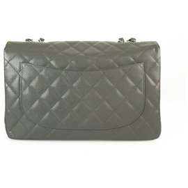 Chanel-CHANEL Gray Caviar Leather TimelessJumbo Classic Single Flap Bag Silver hardware-Grey
