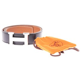 Hermès-Reversible Hermès belt in black box leather and epsom gold, H buckle in shiny palladium metal-Black,Golden