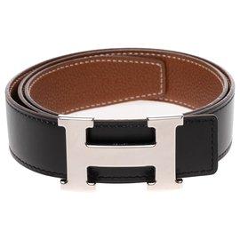 Hermès-Ceinture réversible Hermès en cuir box noir et epsom gold, boucle H en métal palladié brillant-Noir,Doré