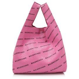 Balenciaga-Balenciaga Pink Lambskin Supermarket Shopper M-Rose