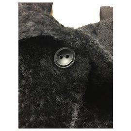 Max Mara-Manteau en fourrure de laine aplaca Teddy Bear-Noir