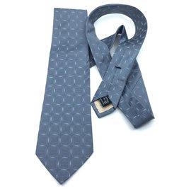 Gucci-cravate en soie-Bleu,Gris