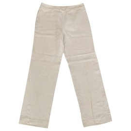 Chanel-Chanel linen wool pants trousers FR36-Beige