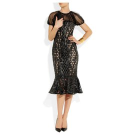 Alexander Mcqueen-Rare runway Alexander Mcqueen honeycomb patent leather lace dress!!!! New!!-Black,Taupe