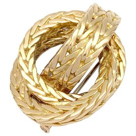 "Hermès-Broche Hermès ""Noeud marin"" en or jaune.-Autre"