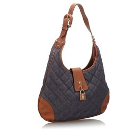 Burberry-Burberry Blue Quilted Denim Brooke Hobo-Brown,Blue