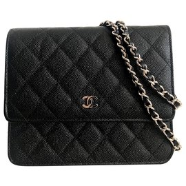 Chanel-Chanel Wallet On Chain Black Caviar Leather-Black