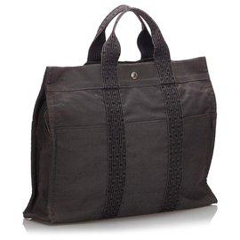 Hermès-Hermes Brown cabas GM-Marron,Noir